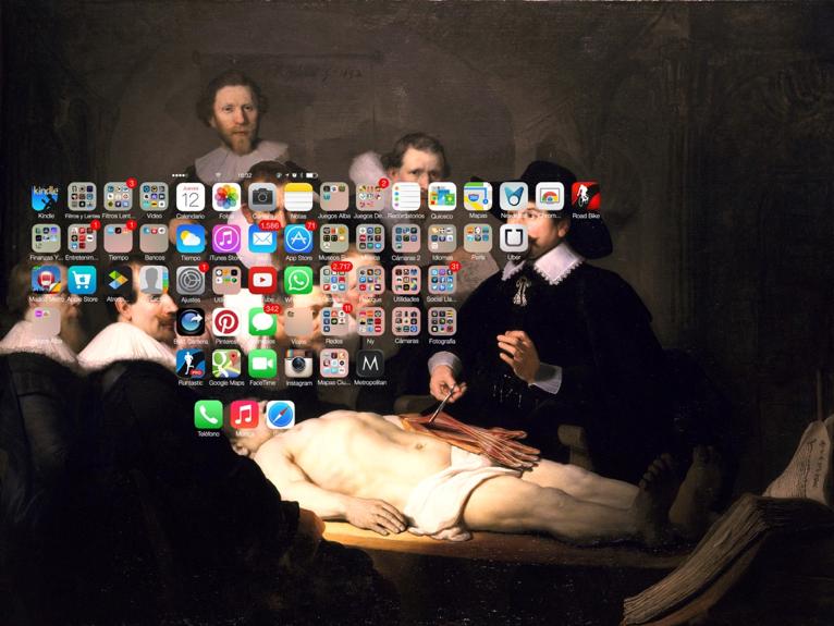 #Smartpaint XI - Lección de anatomía Rembrandt, impresión digital en papel montado sobre dibond, 85x105 cm, 2014