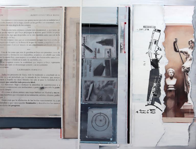 Armas para salvar hombres, imágenes para someterlo (2019) Óleo, esmalte y spray sobre lino 193 x 250 cm