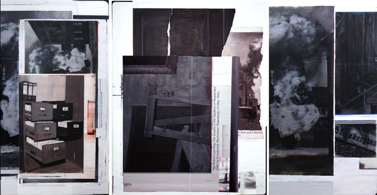 Otros crímenes de archivo (2019) Óleo, espalte y spray sobre lino 110x200/150x200/110x200 cm (tríptico)